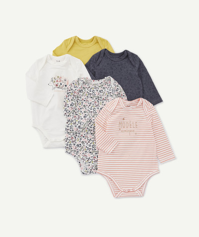 Essentials : 50% off 2nd item* family - PACK OF FIVE COLOURED BODIES IN ORGANIC COTTON