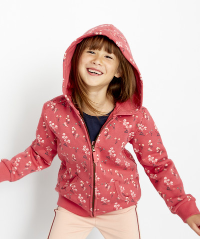 Basics radius - RASPBERRY FLOWER-PATTERNED SWEATSHIRT WITH A HOOD