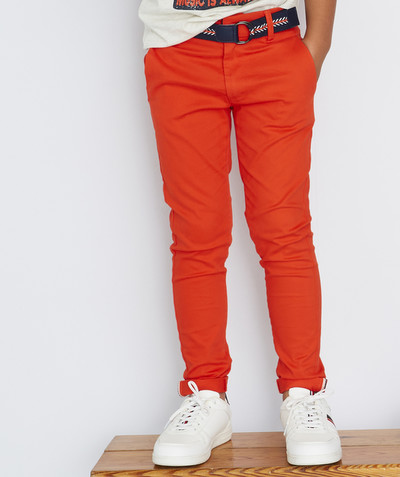 Trousers - Jogging pants radius - ORANGE CHINO TROUSERS WITH BELT