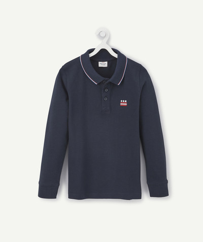 T-shirt  radius - NAVY BLUE LONG-SLEEVED POLO SHIRT