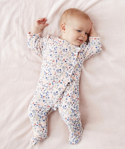 Essentials : 50% off 2nd item* family - FLOWER-PATTERNED VELVET SLEEPSUIT IN ORGANIC COTTON