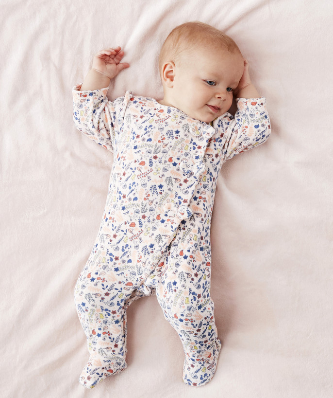 Sleepsuit - Pyjamas radius - FLOWER-PATTERNED VELVET SLEEPSUIT IN ORGANIC COTTON