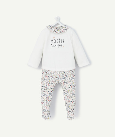 Essentials : 50% off 2nd item* family - TWO-IN-ONE EFFECT FLOWER-PATTERNED SLEEPSUIT IN ORGANIC COTTON