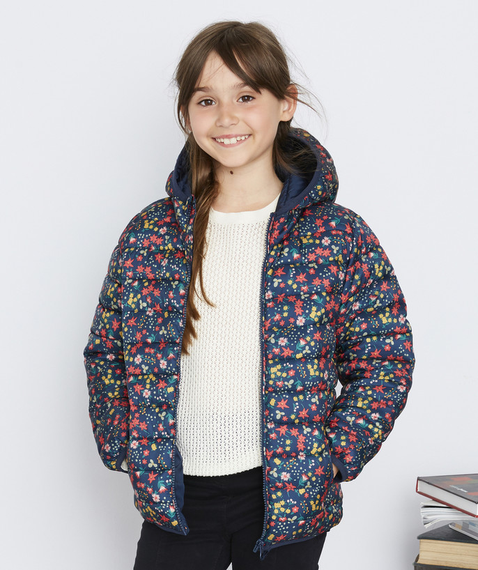 Coat - Padded jacket - Jacket radius - LIGHT AND WATER-REPELLENT NAVY BLUE AND FLOWER-PATTERNED PADDED JACKET