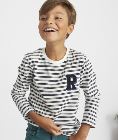 T-shirt  radius - BLUE AND WHITE STRIPED T-SHIRT IN ORGANIC COTTON