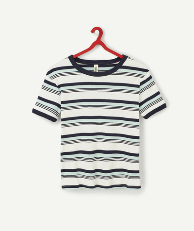 Basics radius - STRIPED CROPPED T-SHIRT IN ORGANIC COTTON