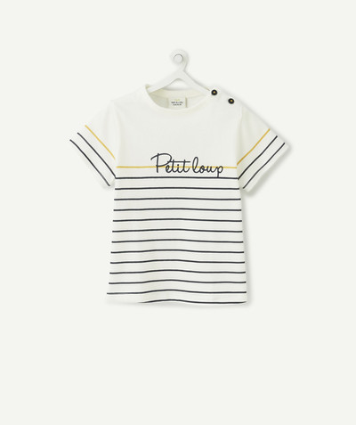 All collection radius - BLUE AND YELLOW STRIPED T-SHIRT IN ORGANIC COTTON