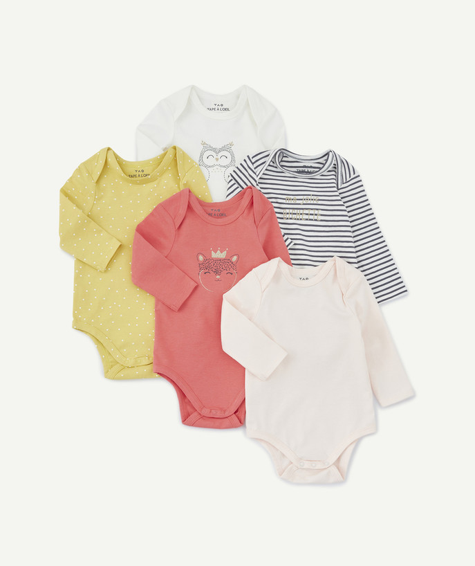 Bodysuit radius - PACK OF FIVE COLOURED BODIES IN ORGANIC COTTON