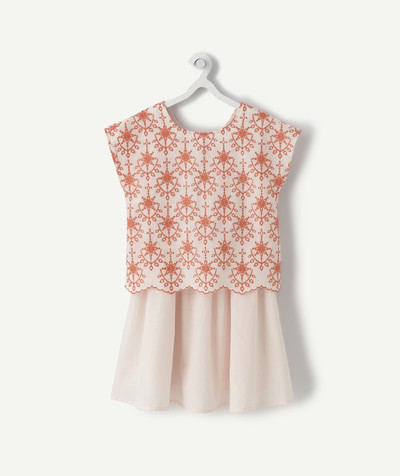 Dress radius - PALE PINK AND CORAL TWO-IN-ONE EFFECT DRESS