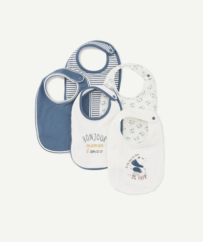 Essentials : 50% off 2nd item* family - PACK OF FIVE BLUE AND WHITE BIBS