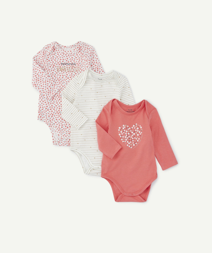 Bodysuit radius - PACK OF THREE PINK BODIES IN ORGANIC COTTON