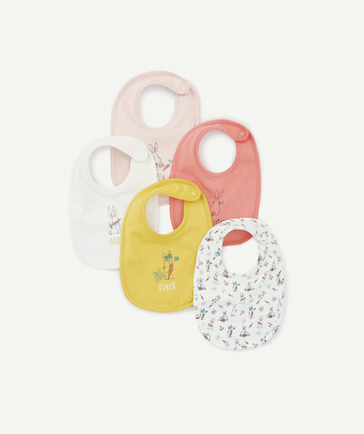 Essentials : 50% off 2nd item* family - PACK OF FIVE RABBIT PRINT BIBS