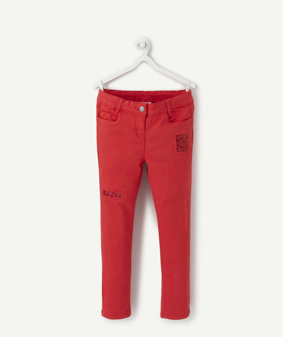 Trousers size + radius - SLIM RASPBERRY TROUSERS WITH SEQUINS, PLUS SIZE