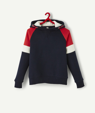 Sweat Rayon - LE SWEAT BLEU MARINE COLOR BLOCK AVEC CAPUCHE