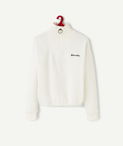 Outlet radius - WHITE SWEATSHIRT WITH A HIGH NECK