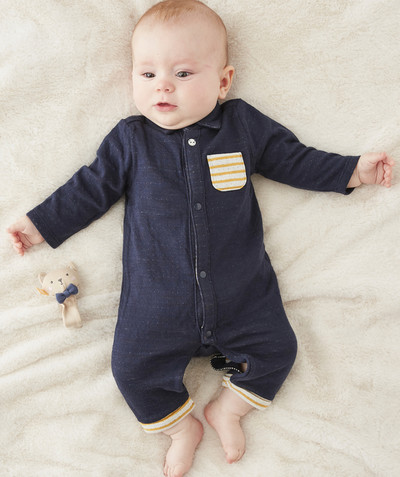 Clothing radius - NAVY BLUE JUMPSUIT IN LINED COTTON
