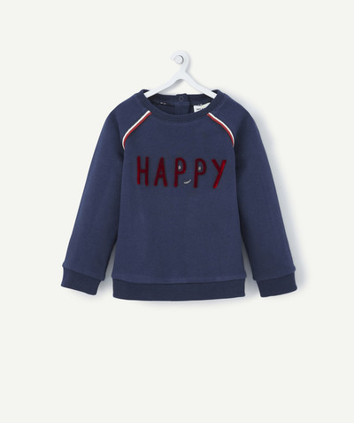 All collection radius - NAVY BLUE SWEATSHIRT WITH MESSAGE IN FELT