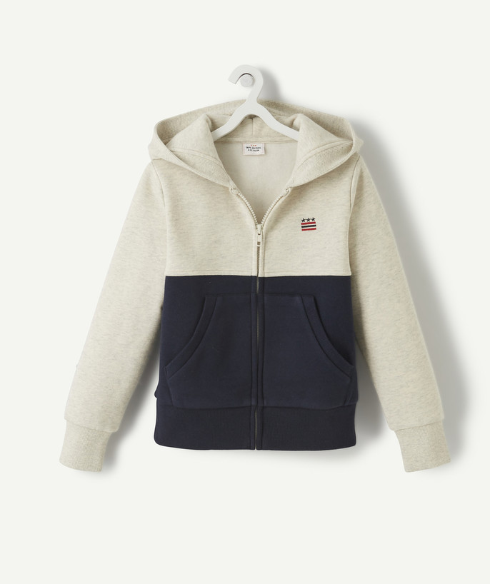 Sweat Rayon - Le sweat zippé écru chiné colorblock
