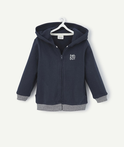 All collection radius - NAVY BLUE ZIPPED JACKET IN FLEECE