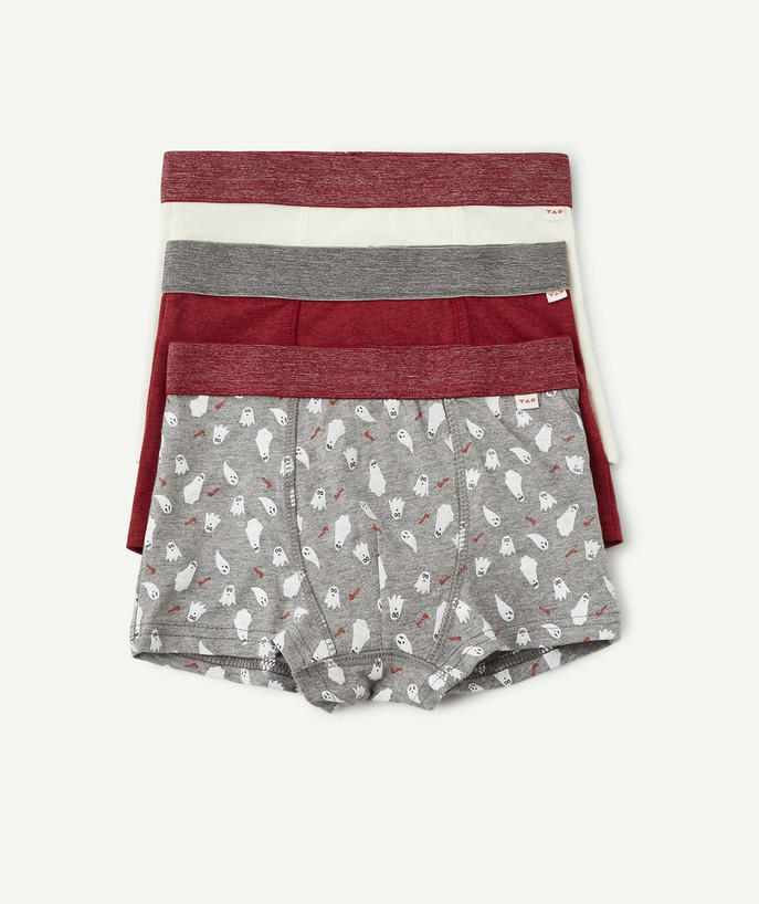 Underwear radius - PACK OF THREE PAIRS OF BOXERS, WHITE RED AND GREY, IN ORGANIC COTTON