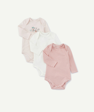 Outlet Rayon - LE LOT DE 3 BODIES ROSE ET BLANC EN COTON BIOLOGIQUE