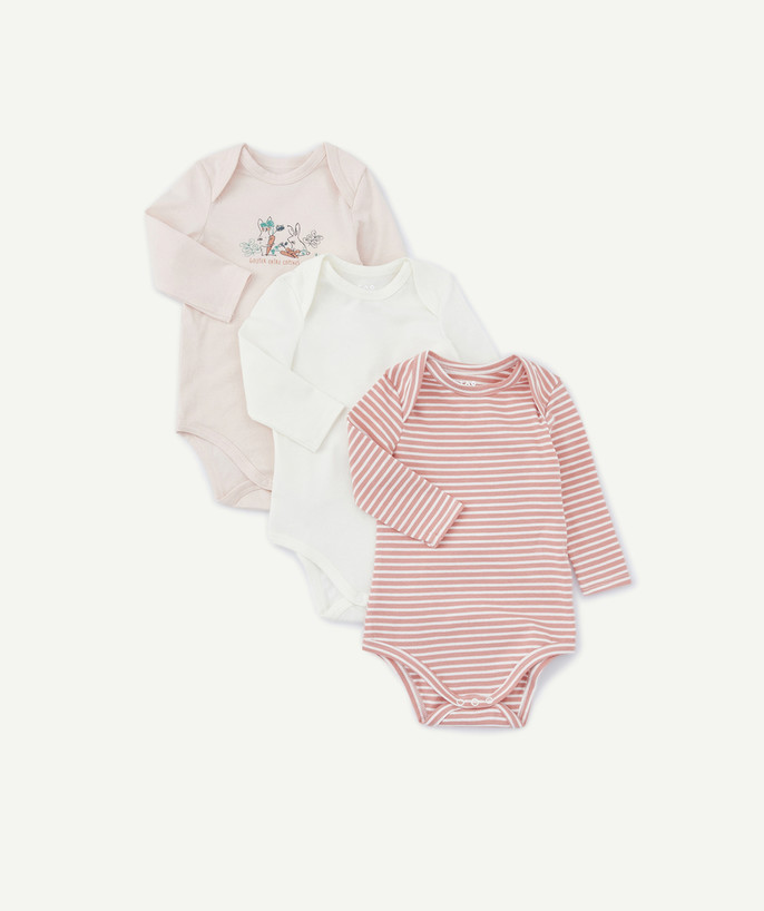 Bodysuit radius - PACK OF THREE PINK AND WHITE BODIES IN ORGANIC COTTON