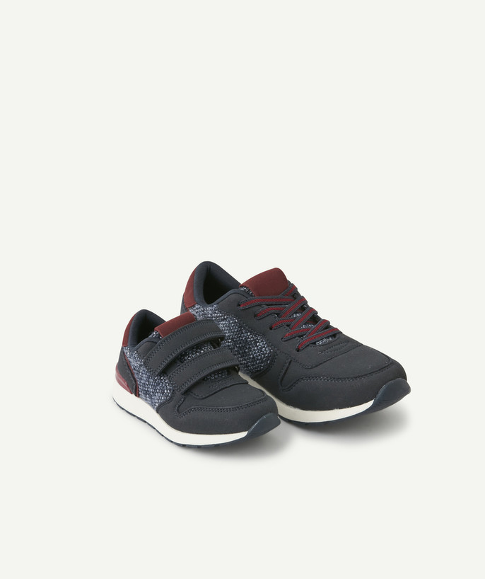 Shoes, booties radius - LOW-RISE TRAINERS IN TWO MATERIALS WITH ELASTICATED LACES
