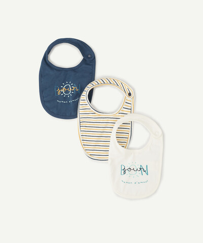 Essentials : 50% off 2nd item* family - PACK OF THREE TRICOLOURED BIBS