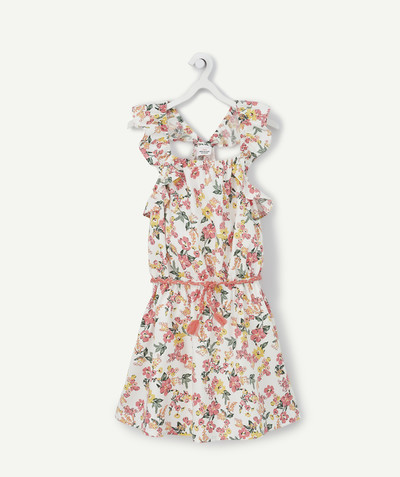 Dress radius - FLOWER-PATTERNED DRESS WITH STRAPS CROSSED AT THE BACK