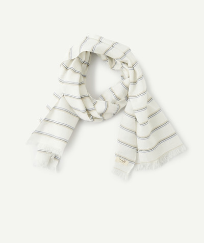 Baby-boy radius - WHITE STRIPED SCARF IN ORGANIC COTTON