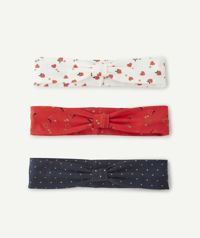 Baby-girl radius - SET OF THREE KNOTTED AND PRINTED HAIR BANDS