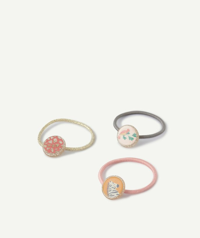Baby-girl radius - THREE COLOURED HAIR ELASTICS WITH FANCY PATCHES