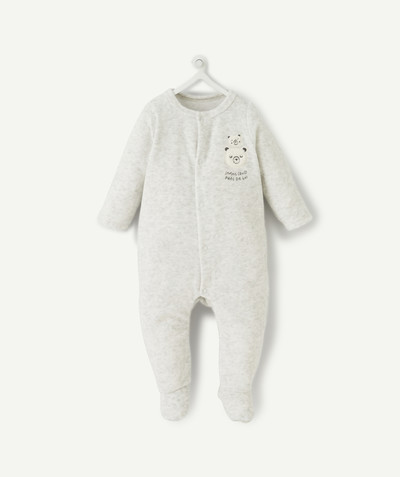 Essentials : 50% off 2nd item* family - GREY MARL SLEEPSUIT IN ORGANIC COTTON VELVET