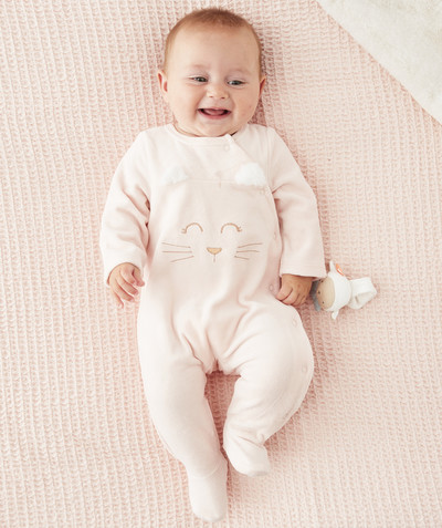 Essentials : 50% off 2nd item* family - PINK SLEEPSUIT WITH SPARKLING EMBROIDERY, IN ORGANIC COTTON