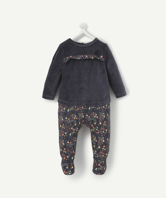 Essentials : 50% off 2nd item* family - CHARCOAL TWO-IN-ONE EFFECT SLEEPSUIT IN VELVET AND ORGANIC COTTON