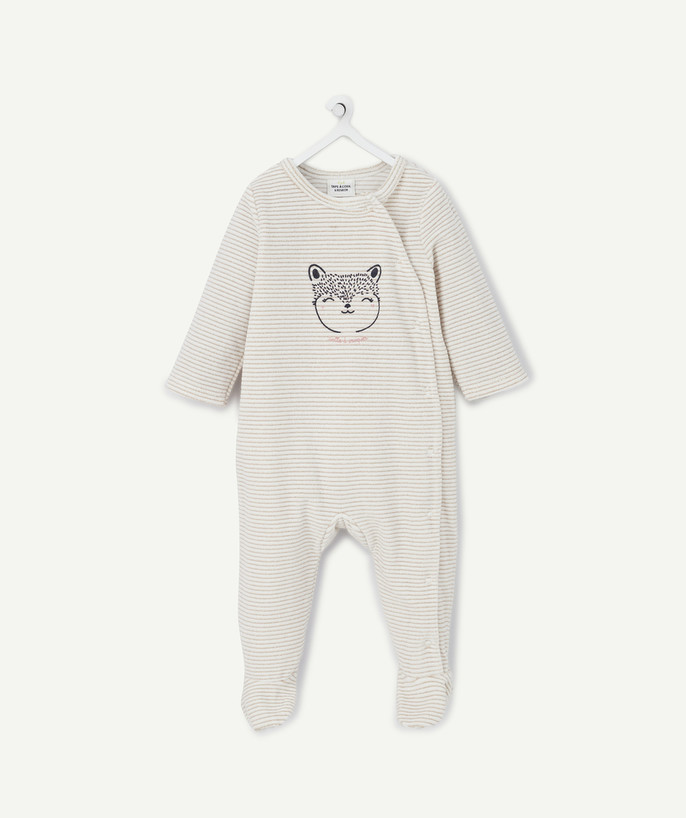 Essentials : 50% off 2nd item* family - VELVET SLEEP SUIT IN ORGANIC COTTON WITH GOLDEN STRIPES