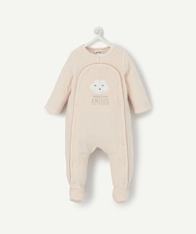 Essentials : 50% off 2nd item* family - PALE PINK VELVET SLEEPSUIT IN ORGANIC COTTON