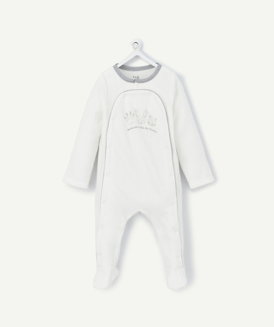 My first wardrobe radius - WHITE VELVET SLEEPSUIT IN ORGANIC COTTON