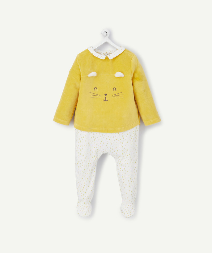 Sleepsuit - Pyjamas radius - TWO-IN-ONE EFFECT SLEEPSUIT IN ORGANIC COTTON AND VELVET