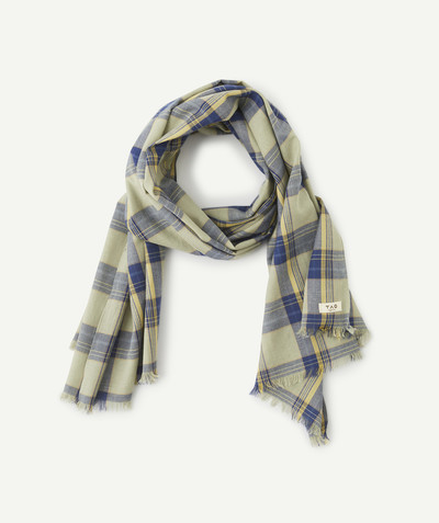 All collection radius - BLUE AND GREEN CHECKED SCARF IN ORGANIC COTTON