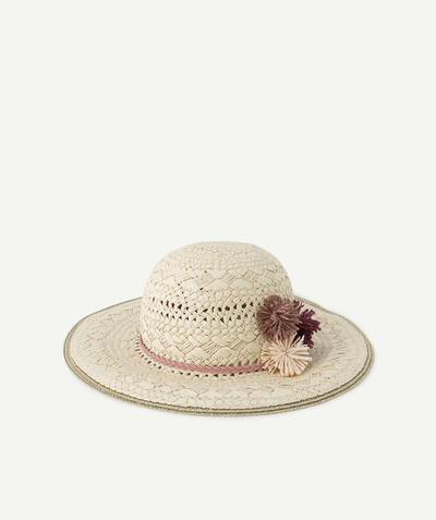 All Collection radius - STRAW AND RAFFIA HAT WITH COLOURED POMPOMS