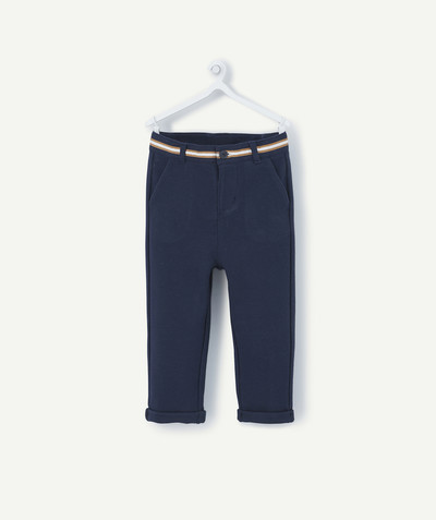 All collection radius - NAVY BLUE CHINO TROUSERS IN COTTON PIQUE