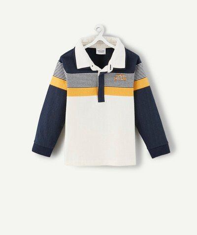 All collection radius - NAVY BLUE, YELLOW AND WHITE STRIPED POLO SHIRT