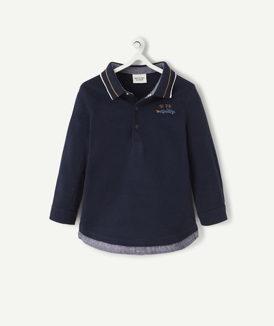 Shirt and polo radius - NAVY BLUE TWO-IN-ONE EFFECT POLO SHIRT