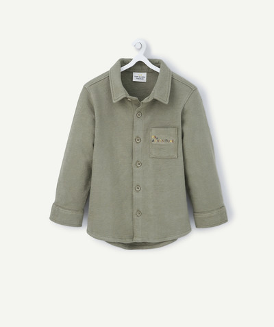 Shirt and polo radius - KHAKI SHIRT IN COTTON PIQUE