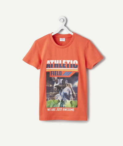 Sportswear radius - ORANGE T-SHIRT WITH A CHANGING DESIGN IN ORGANIC COTTON
