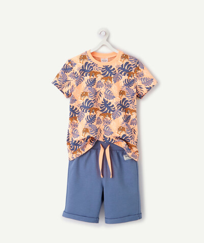 Nouvelle collection Rayon - LE PYJAMA SHORT SAUMON ET BLEU IMPRIMÉ TIGRE
