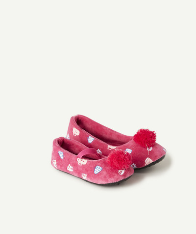 Chaussures, chaussons Rayon - LES CHAUSSONS FUCHSIA AVEC POMPONS