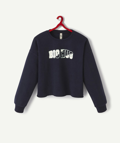 Basics radius - NAVY BLUE FLOCKED SWEATSHIRT