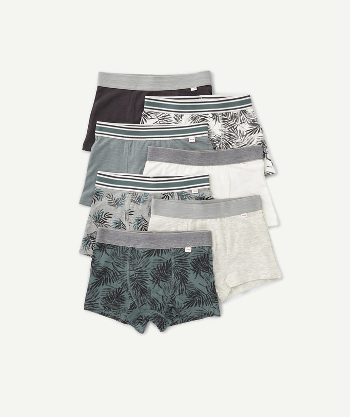 Underwear radius - SEVEN PAIRS OF BOXERS IN ORGANIC COTTON WITH TROPICAL PRINTS